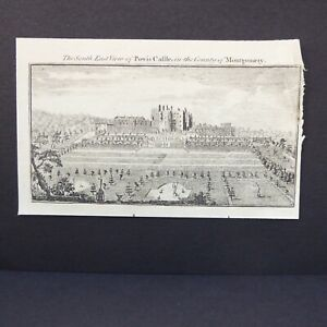 SE VIEW POWYS CASTLE, MONTGOMERY 1778 COPPERPLATE ENGRAVING AFTER BUCK'S