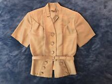 1940s Gold Peplum Belted Suit Jacket | S 40s Hollywood Tan Blazer 50s 1950s