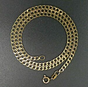 FINE 9 CT GOLD FLAT CURB LINK 42 CM CHAIN NECKLACE - 5 GRAMS