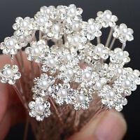 40X Haarnadeln Perlen Braut Kommunion Hochzeit Blumen Strass Haarschmuck Mode