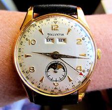 Superb 1950s Swiss GP Helvetia Venus 203 Triple Date Moonphase Watch Serviced