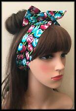 Women Girl Boho Retro Tulip Floral Cross Twist hair headband band bandana scarf