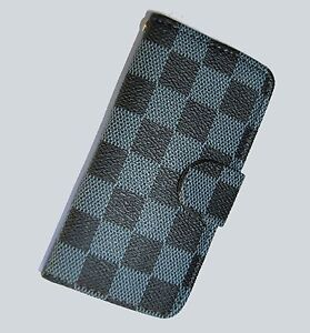 New, Black and grey patterned, Leather, Wallet Pouch for Apple iPhone 4 4s Case