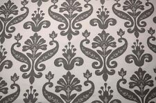 Grey White Linen Damask Print Carnation 3 Gray Noveltex Fabric