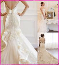 Mermaid Wedding Dresses Lace Sweetheart Sleeveless Bride Dress Custom all Size