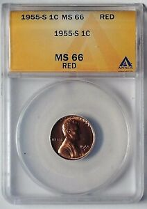 1955-S Lincoln Wheat Reverse Penny 1 Cent ANACS MS66RD Graded Coin