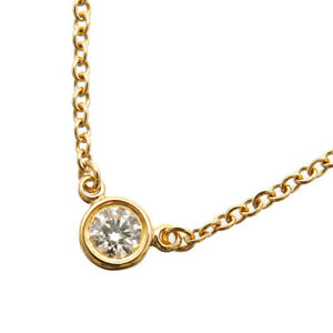Auth Tiffany&Co. By the Yard 1P Diamond Necklace 0.08ct Yellow Gold Used F/S