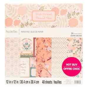 "Recollections ""Pink Parasol"" 12X12 SCRAPBOOK PAPER PAD 48 sheets incl gold foil"