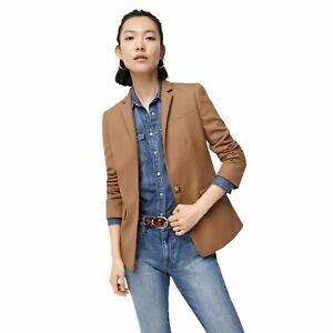J Crew Regent Wool Flannel Warm Caramel Brown Blazer Size 6 Lined Single Button