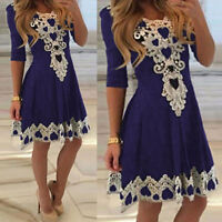 UK Womens Lace Skater Dress Ladies Party Cocktail Prom Formal Long Swing Dresses