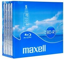 MAXELL SINGLE LAYER BLU-RAY DISCS WRITE-ONCE 5 DISC JEWEL CASE PACK 25GB 4X NEW