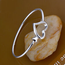 Wholesale 925Sterling Silver Lovely Large Small Heart Bangle Cuff Bracelet BB018