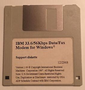 "IBM 33.6/56Kbps data/fax modem for windows 1997 Support Disk 3.5"" Floppy Disk"