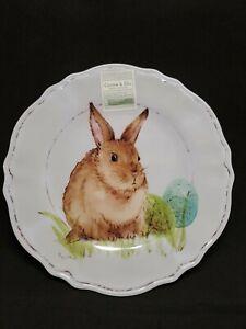 """Cotton & Co. EASTER Bunny Egg Dinner Plates Set of 8 New Melamine 11"""""""
