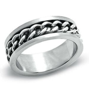 Plated-Gold/Black Man's Spin Chain Ring For Stainless Steel Cool Man`s Jewelry