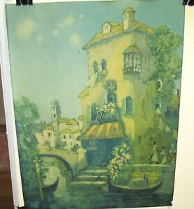 SEVIN OLD COLOR CANAL STREET SCENE LITHOGRAPH DATED 1927