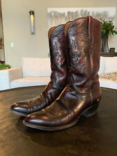 Men's Lucchese Black Cherry Cowboy Boots US Size 11D  Cowboy Worn !!!