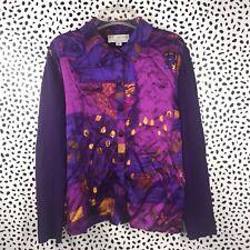 St John Collection 12 Shirt Blouse Button Down Vtg Purple Unique