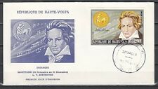 // Burkina Faso, Scott cat. 319. Composer Beethoven issue on a First Day Cover.