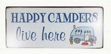 Blechschild Happy Campers live here Vintage Retro Camping Schild Metallschild
