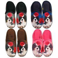 Ladies Dog Slippers Fleece Warm Winter Womens Novelty Mules Size UK 3 4 5 6 7 8