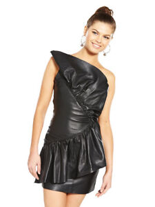 100% Genuine Soft Leather Dress OneShoulder Frill Prom Party Evening Cocktail 10