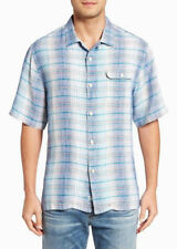 Tommy Bahama Paradigm Plaid 100% Linen Shirt Mens Bering Blue  3XB