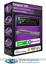 PEUGEOT 206 DAB Radio, PIONEER CAR STEREO LETTORE CD USB, KIT Bluetooth Vivavoce