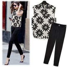 Black and White Floral Chiffon Top and Pants Set