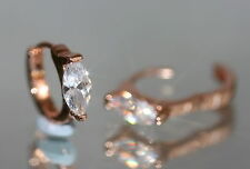 2 x 1 Created Marquise Diamond 18K Rose Gold GF 1.3cm Hoops