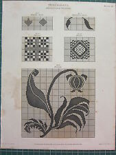 1809 DATED ANTIQUE PRINT ~ MISCELLANY DESIGNS FOR WEAVING DAMASK SPOTS DORNOCK