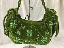 Beautiful Large Fashion Vintage Soft Green Velvet Beaded Shoulder Bag