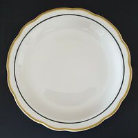 Retro Diner Buffalo China USA Dinner Plate White Yellow Black Trim Scalloped 9""