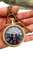 Authentic Vintage Nautical Maritime Brass Pocket Chain Watch Beautiful Clock