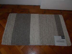 NEXT Indoor Textured Wool Natural Stripe Door Mat BNWT Size 40 X 70cm