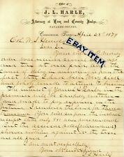 1879 CORSICANA TEXAS letterhead J. L. HARLE Attorney NAVARRO COUNTY JUDGE MAYOR