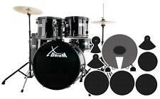 """22"""" Studio Schlagzeug Set Drum Kit Ständer Becken Hocker Dämpfer Set Schwarz"""