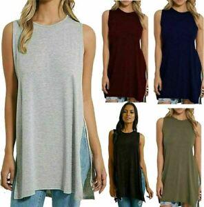 Womens Double Side Slit Shirt Ladies Sleeveless Round Neck Tunic Long Vest Top