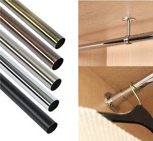 Round Wardrobe Rail Hanging Clothes Steel Tube Centre End Support Brackets