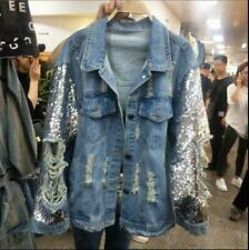 Womens Sequin Ripped Denim Jeans Loose Jacket Coat Hole Ripped Outwear Jackets