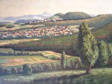 Original antiguo Pintura al óleo: Aichelberg Weilheim y Hohenstaufen sign.PH.