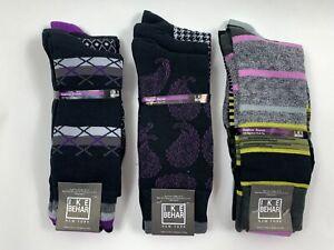 Ike Behar New York Men Black MultiColor Patterned Socks Sz 10-13 Pack Of 3 Pairs