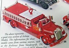 1952 Mack 750 GPM Fire Engine Pumper Hanover PA 1/43 Ashton Models 38 MB