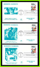 ROBERTO CLEMENTE: 3 different First Day Covers by J:M (from a set of 10)