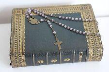 Chapelet ancien 58 Perles en verre Médaille Croix aux Outils Religion Rosary