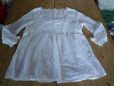 Splendido LAUREN VIDAL Ultra Sottile Bianco Cotone Voile Pizzo Blusa Tunica Top, M