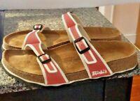 BIRKENSTOCK BIRKI'S  Women SLIP-ON thin strap  SANDALS 37 6.5 Orange And white