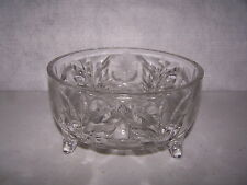 """LEAD CRYSTAL CUT GLASS 3 FOOTED  BOWL 4"""" TALL X 7 1/2"""" WIDE NO DANAGE #415"""