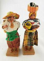 2 Vintage Guatemalan Hand Made Folk Dolls
