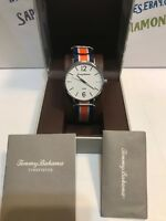 Tommy Bahama Men's Orange and Blue Striped Nylon 41mm Watch TB0001702 NEW! $135